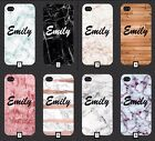 Personalised Name on Marble Wooden Phone Case Cover Gift 5 SE 6 7 S6 S7 S8 + m4a