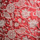 Designer Fabric Home Decor Embroidered Coral White Floral Drapery Pillows Craft