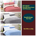 REVERSIBLE Duvet Cover Set with Pillowcases - Striped Polka QUILT COVER BED SET