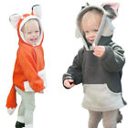 Autumn Winter Warm Girl Kids Baby Outwear Cute Fox with Tail Jacket Coat Clothes