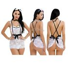 Sexy Sissy Women Lingerie French Maid Costume Cosplay Uniform Apron Fancy Dress