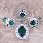 Green Emerald White Topaz Silver Jewelry Sets Earrings Pendant Ring S0054