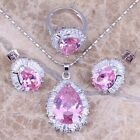 Sparkly Pink & White Topaz Silver Jewelry Sets Earrings Pendant Ring S0099