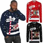 New Plus Sizes Men Kniktted Long Sleeve Christmas Jumper Sweater X-mas Jumper