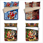 Christmas Print Duvet Quilt Cover Bedding Set & Pillowcases Xmas Twin Queen King