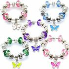 Girls Womens Crystal Glass Butterfly Charm Bracelet with European Style Beads