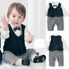 Baby Boy Wedding Christening Formal Tuxedo OnePiece Suit Outfit+Vest Clothes Set