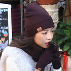 3PCS/Set Unisex Knitted Hats Scarves Gloves Solid Warm Clothing Accessories New