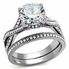 Women's Wedding Band Ring Set Stainless Steel Round Cut AAA CZ Size 5-10