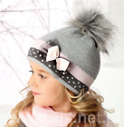 Girls Hats/Warm Winter/Lining/ Fox Fur Pompon /Made in EU/ 1.5-4 YEARS/ 2 colors