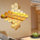 12Pcs 3D Mirror Hexagon Vinyl Removable Wall Sticker Decal Home Decor Art DIY Tn