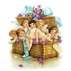 Basket of Cherubs & Violets Reproduction Quilt Block FrEE ShiPPinG WoRld WiDE