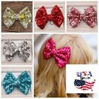 Big Sequin Bow Hair Clips Sparkly Sequined Bows Hair Clips Baby Toddler Girls