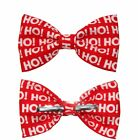 HO! HO! HO! Clip On Cotton Bow Tie ~ Men's or Boys Size Christmas Bowtie