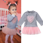 UK Stock Kids Baby Girl Long Sleeve Lace Dress Sweatshirt Skirt Outfits Clothes