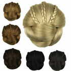 Women Braided Clip In Synthetic Hair Bun Chignon Donut Roller Hairpieces 28hh