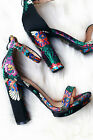 Floral Embroidered Brocade Open Toe Ankle Strap Sandals Chunky Heel Low Platform