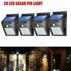 4X 20 LED Solar Powered PIR Motion Sensor Light Outdoor Garden Security Lights