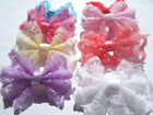 50PCS PET hair lace bow With Clips/rubber band Dog  Puppy Grooming Accessories