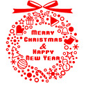 Merry christmas and happy new year sign sticker graphic decal shop display xmas