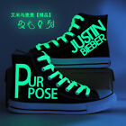Fashion Justin Bieber Luminous High Casual Canvas Shoes Ankle Lace-Up Sneakers