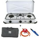 Portable LPG Gas Stove Camping Cooker 3 Burner Hob Cooktop Outdoor BBQ NJ-03 UK