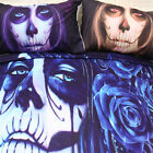 Blue Skull Floral Duvet/Quilt Cover Set Pillowcases Twin/Queen/King Size Bed New