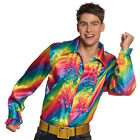Mens Rainbow Shirt 70s 80s Disco Costume Fancy Dress 1970s 1980s Party Outfit