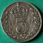 1908 Edward VII -1910 TO 1940 King George V/VI Silver Threepence Coin