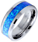 Blue  Green Opal Inlay Mens/Unisex Tungsten Carbide Wedding Engagement Band Ring