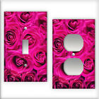 Hot Pink Roses  Pattern - Light Switch / Outlet Cover All Styles D0011