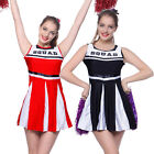 Cheerleader Fancy Dress High School Girl Sports Outfit Uniform Costume w Pompoms