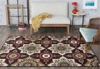 Tayse Majesty Non-Slip Nylon Country Casual Brown Floral Area Rug MJS1408