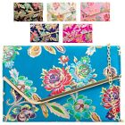 Ladies Floral Embroidery Satin Clutch Bag Flower Party Bag Purse Handbag KH2133