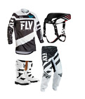 New Kids Youth Fly F16 Jersey Pant Kit & Thor Boots Neck Collar Black White Xmas
