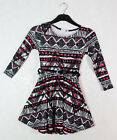 New Girls Skater Dress Aztec Belted Long Sleeves Black White Pink Ages 7-13Y