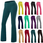 Women Power Flex Boot Cut Trousers Legs Solid Bootleg Flare Workout Yoga Pants