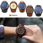 Curren 8225 Mens Stainless Steel Leather Band Analog Quartz Sport Wrist Watch image
