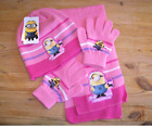 Children's Character Despicable Me Minions Hat Scarf Gloves 3 Colours 3-9 years