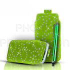 DIAMOND BLING FLIP LEATHER PULL TAB CASE COVER POUCH & PEN FOR VARIOUSE PHONE