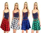 Plus Size Ladies Womens Check Tartan Pleated Flared Belted Mini Skater Skirt