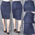 WOMENS REGULAR AND PLUS  MID LENGTH PENCIL SKIRT STRETCH DENIM S-XXXL SG-76050