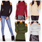 Women Winter Cotton Knitted Off-shoulder Long Sleeve Collared Sweaters O6656