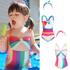 Girls Kids Candy Striped Swimwear Bikini Holiday Beach Swimsuit Swimming Costume