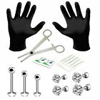 labret piercing kit - Professional Body Piercing Kit 15PCS for Labret Studs Tragus Barbell Set