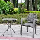 3 Pcs All-Weather Outdoor Bistro Set Resin Wicker Outdoor Patio Furniture Dining