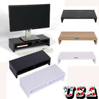 tv tables white - Computer Monitor Riser Desk Table LED TV Stand Shelf Desktop Laptop with Drawer