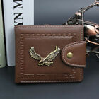 Mens Luxury Leather Bifold Wallet Credit ID Card Holder Eagle Trifold Wallet