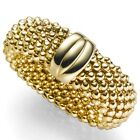 Ring Women's Ring Finger Ring Raspberry Wide 8mm 585 Gold Yellow Gold, Gold Ring