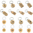 17 Styles Natural Wood Engraved Key Fob Keychain Ring Anniversary Birthday Gifts